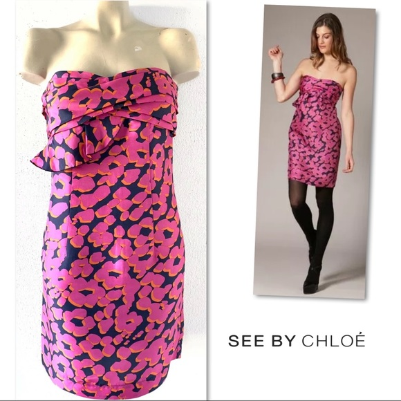 See By Chloe Dresses & Skirts - SEE BY CHLOE SILK NAVY PINK STRAPLESS DRESS 8